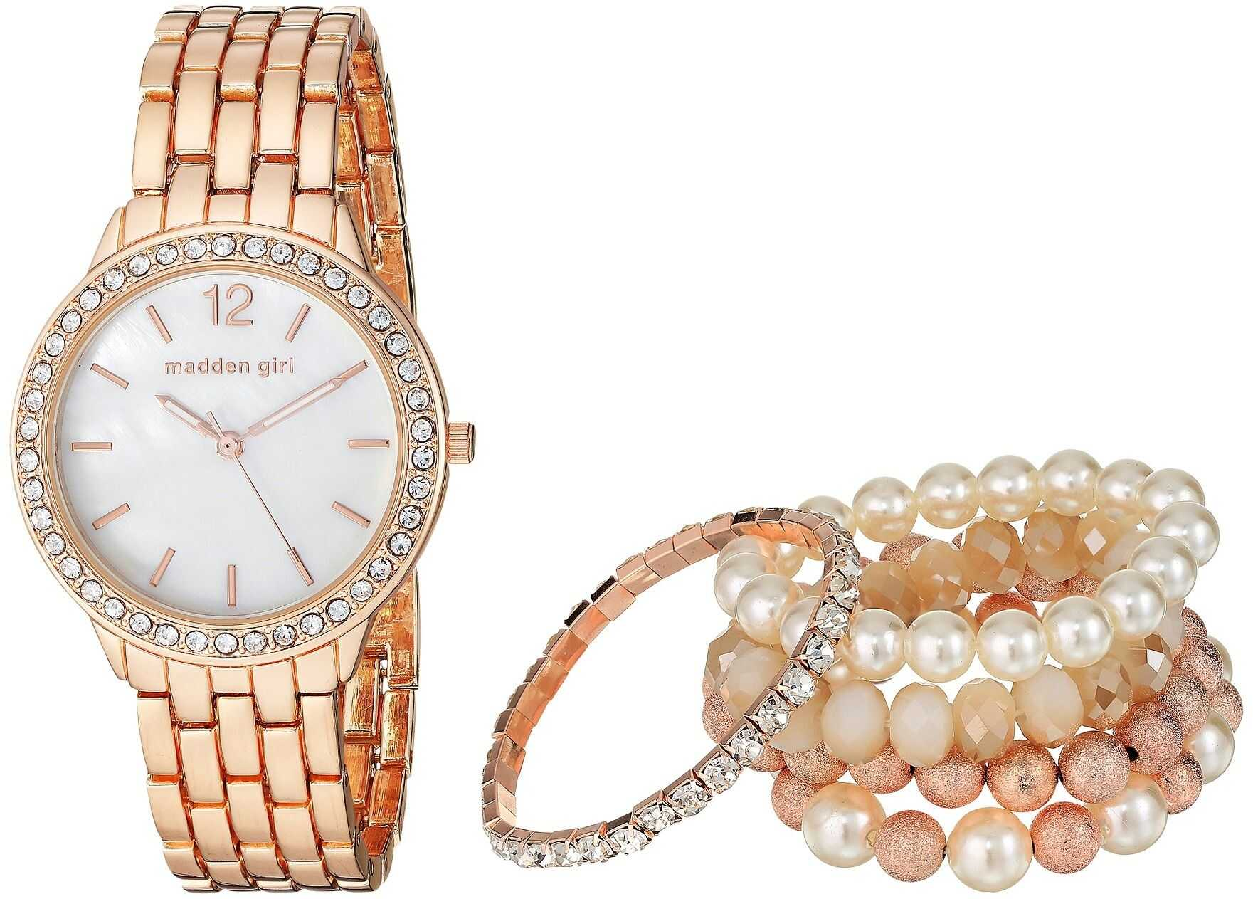 Steve Madden Madden Girl Watch with Stretch Bracelet Set SMGS018 Rose Gold