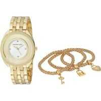 Ceasuri Fashion Madden Girl Watch with Charm and Stone Bracelet Set SMGS017 Femei