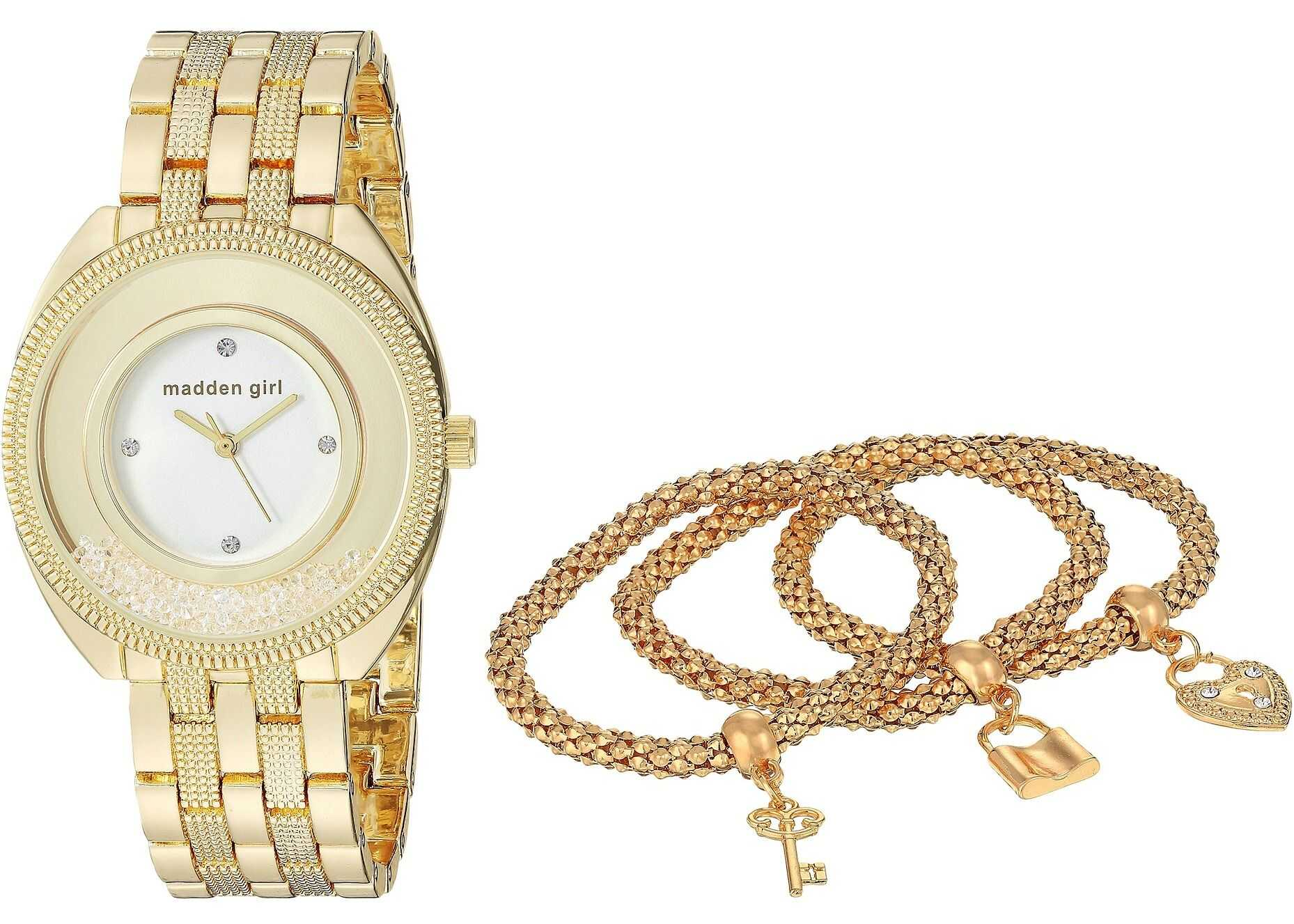 Steve Madden Madden Girl Watch with Charm and Stone Bracelet Set SMGS017 Gold