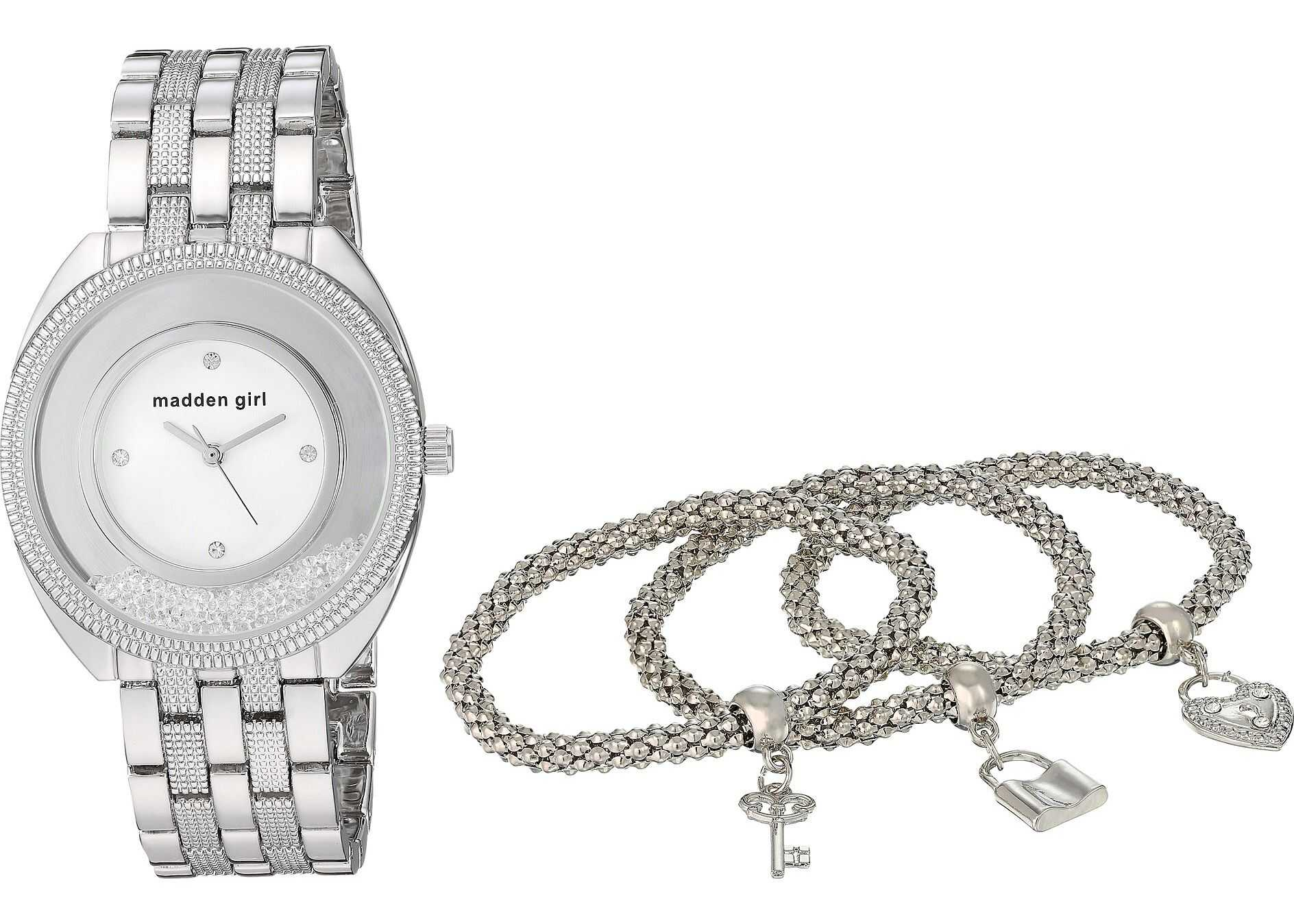 Steve Madden Madden Girl Watch with Charm and Stone Bracelet Set SMGS017 Silver