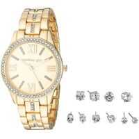 Ceasuri Fashion Madden Girl Stone Bracelet Watch and Stud Earrings Set SMGS021 Femei