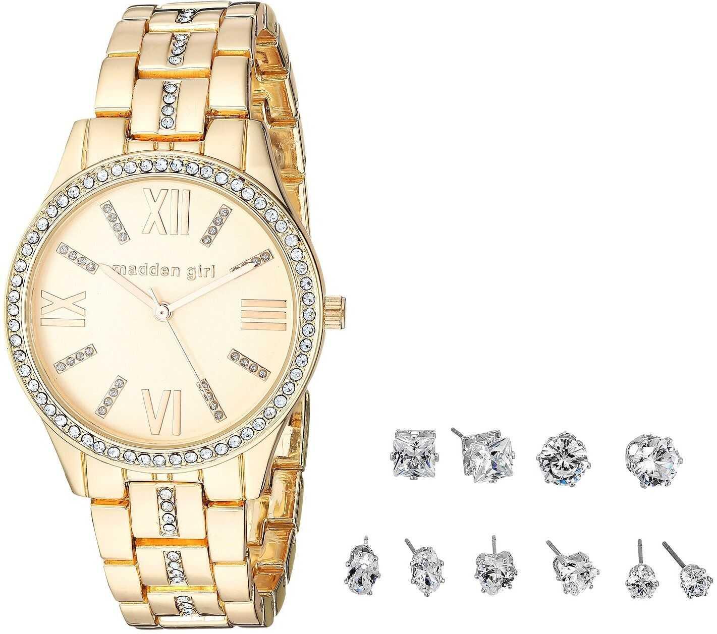 Steve Madden Madden Girl Stone Bracelet Watch and Stud Earrings Set SMGS021 Gold