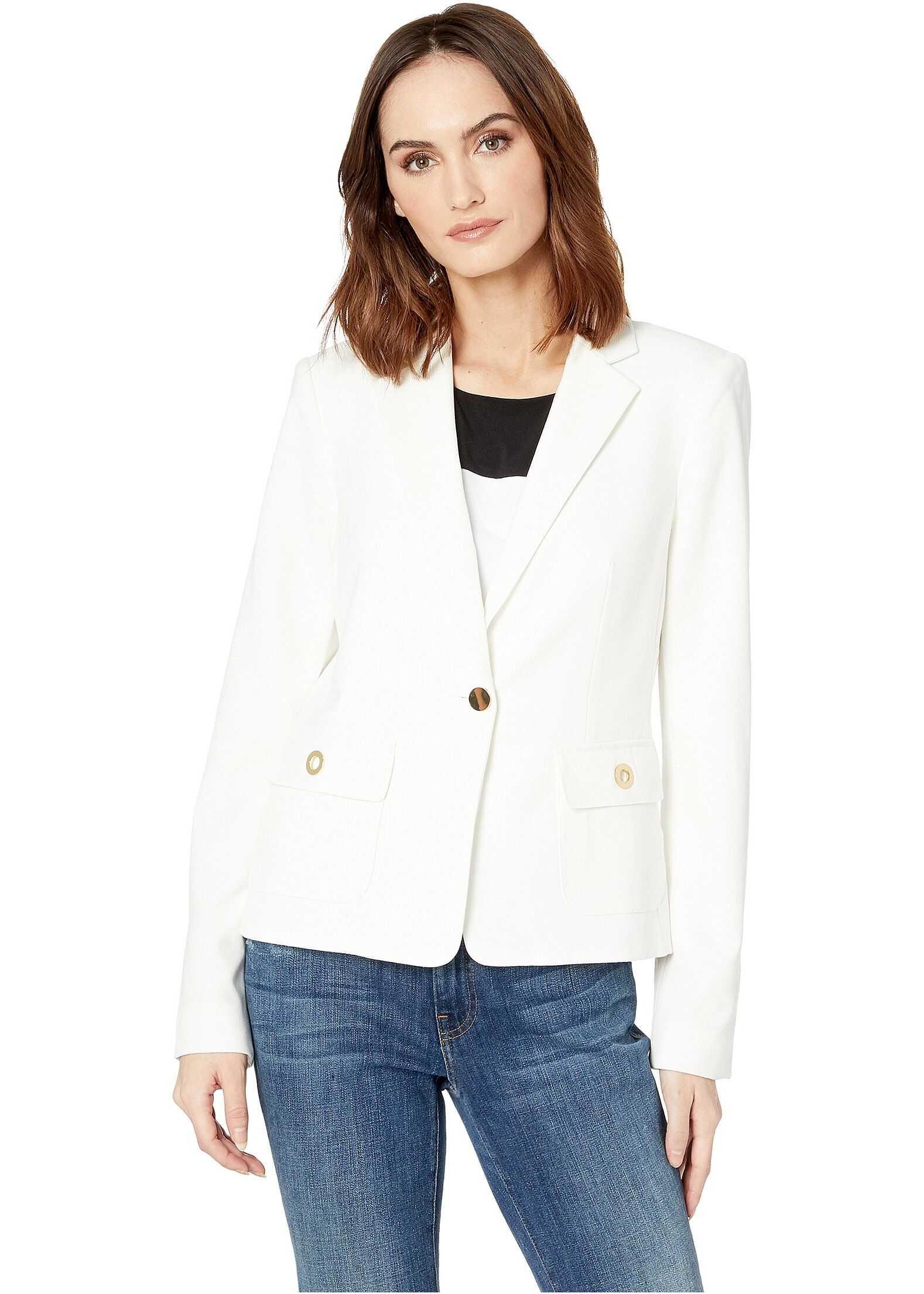 Calvin Klein Woven Button Front Jacket Cream