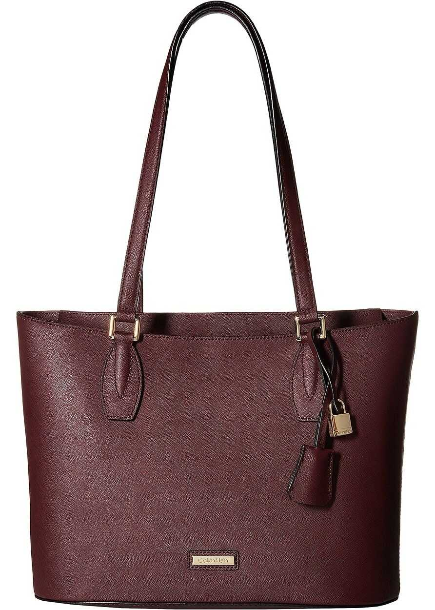 Calvin Klein Brooke Saffiano Leather Top Zip Tote Rum Raisin
