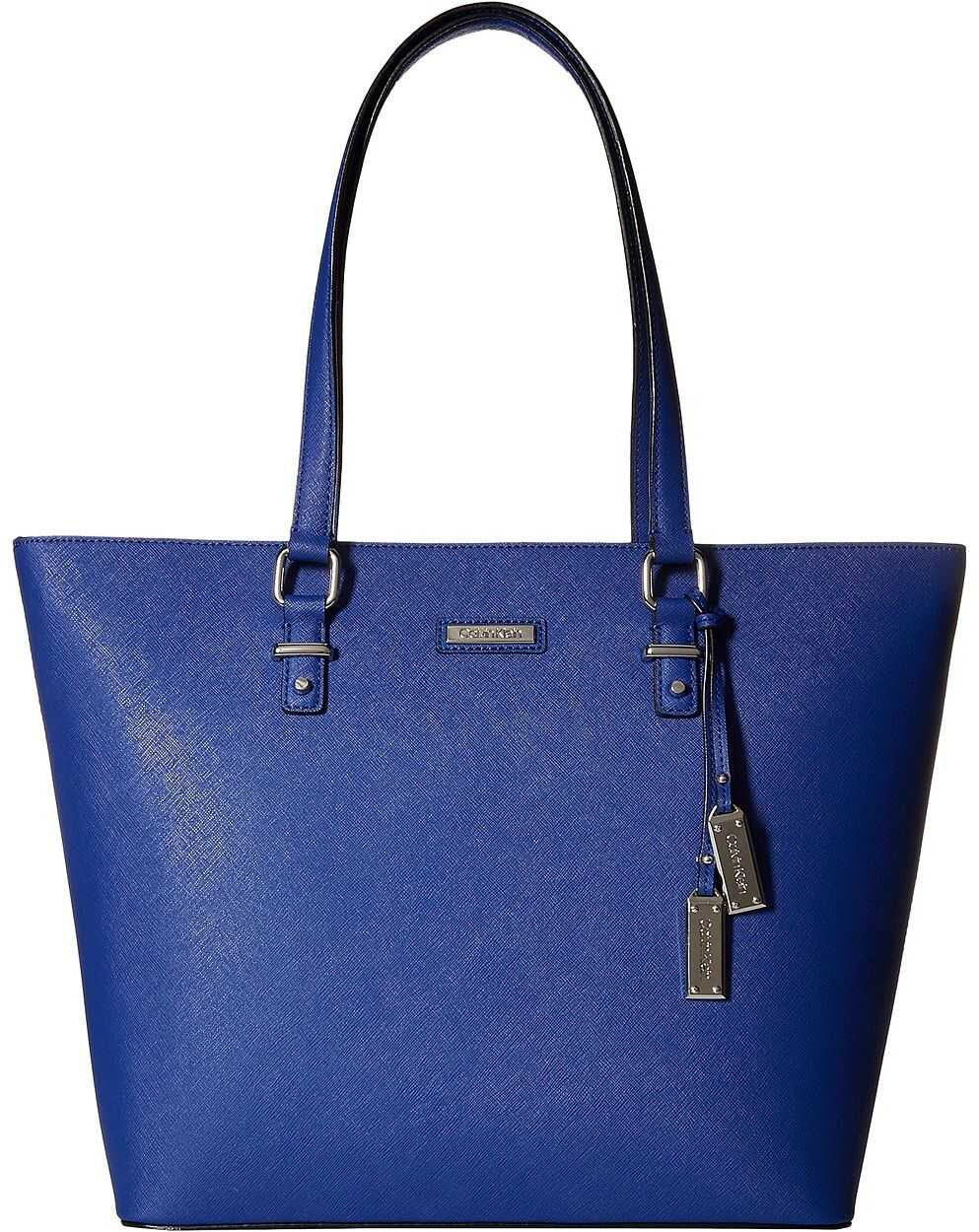 Calvin Klein Saffiano Leather Tote Retro Blue