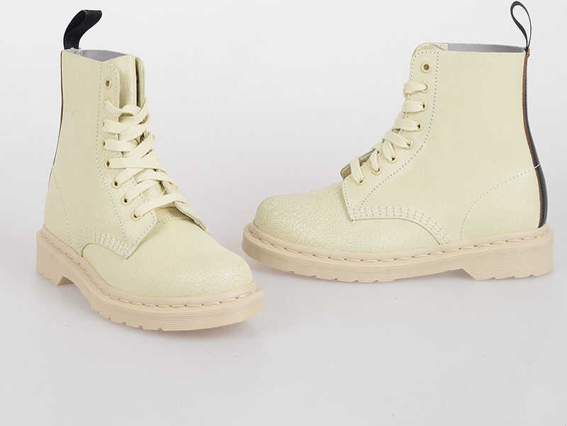 Dr. Martens MARNI Leather PASCAL Combat Boots BEIGE