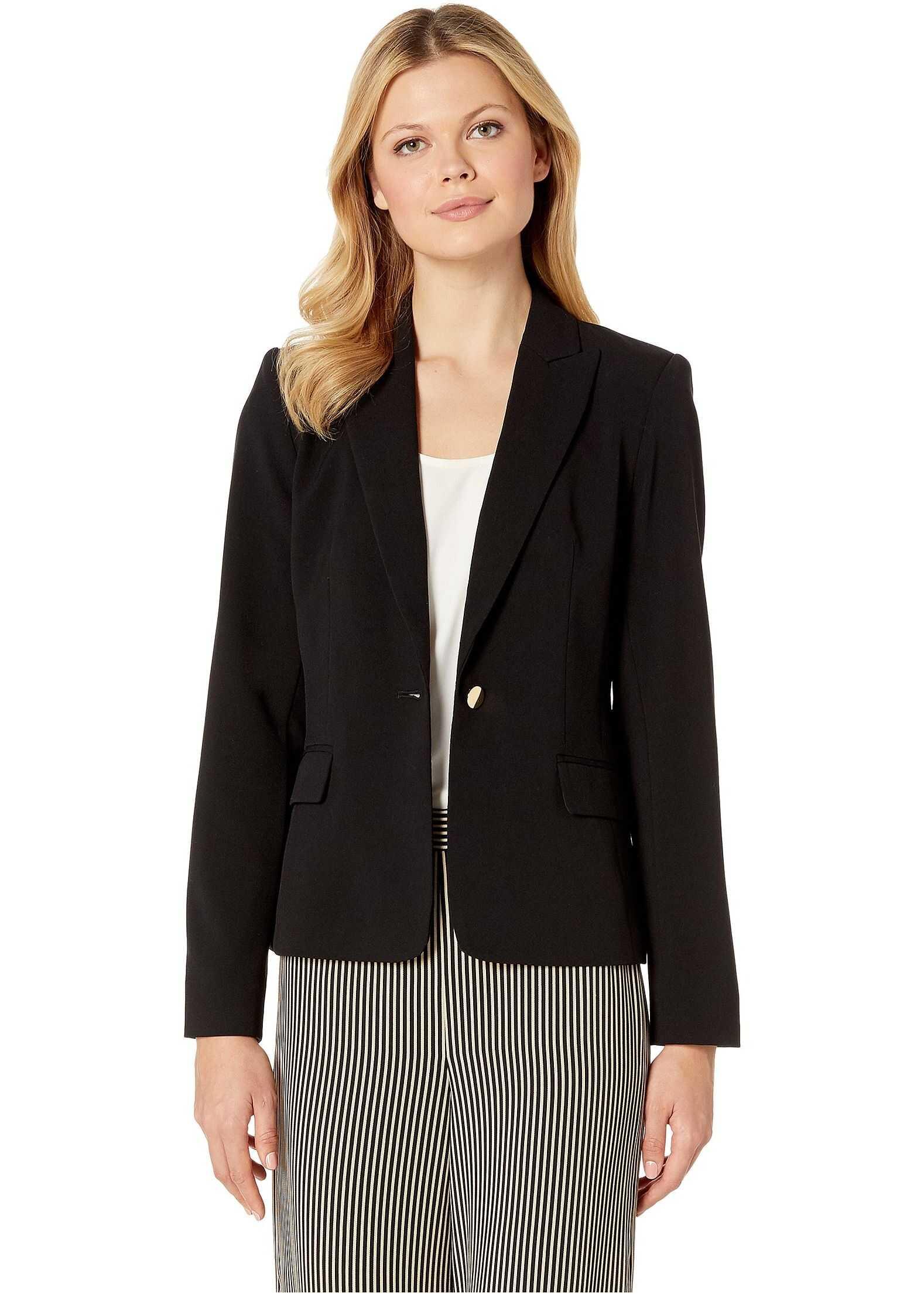 Calvin Klein Woven Button Front Jacket Black