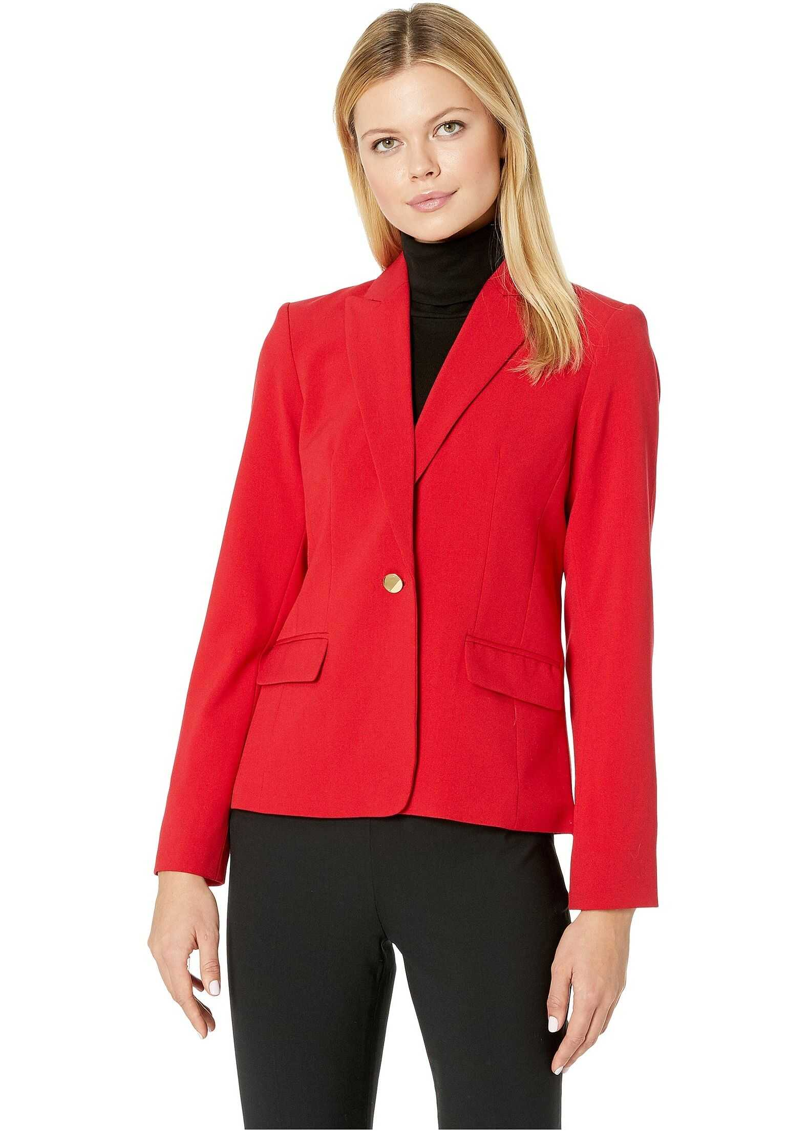 Calvin Klein Woven Button Front Jacket Red