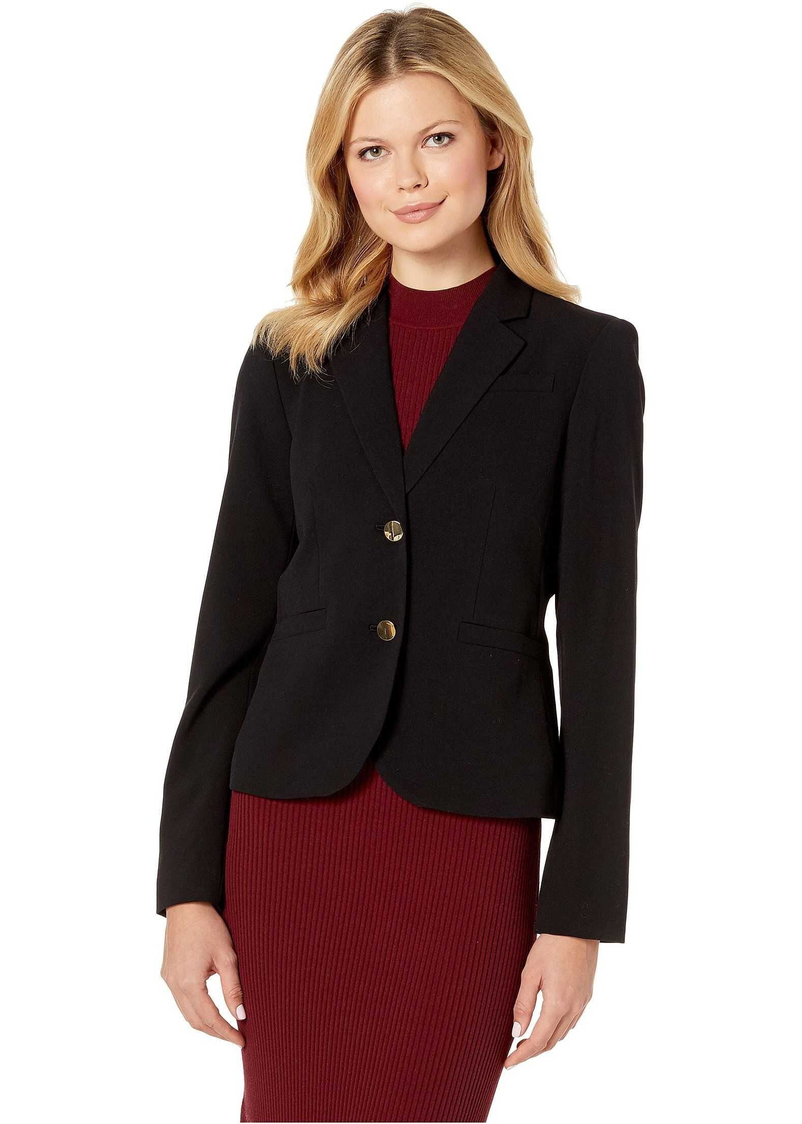 Calvin Klein Woven Button Front Jacket Black