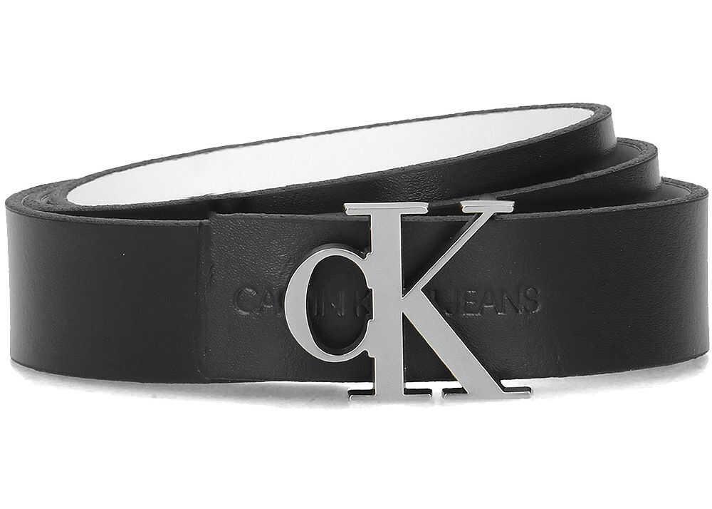 Calvin Klein Skinny Monogram Rev Belt 2.5 cm Czarny