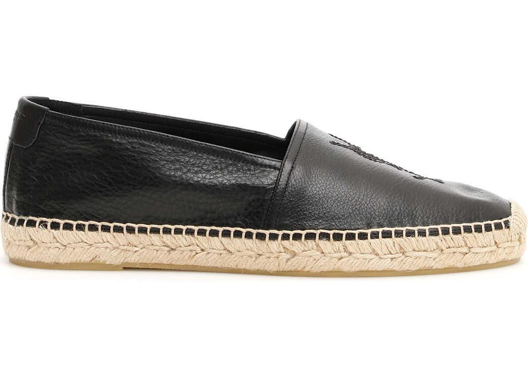 Saint Laurent Grain Leather Espadrilles NERO