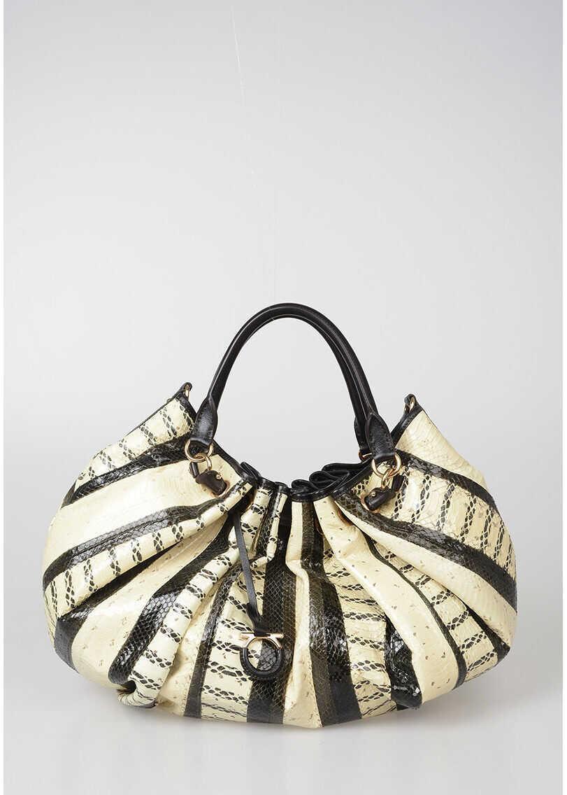 Salvatore Ferragamo Python Skin Tote Bag BEIGE