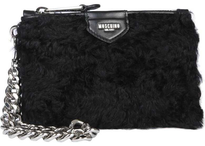 Moschino 844482133555 Wool Clutch BLACK