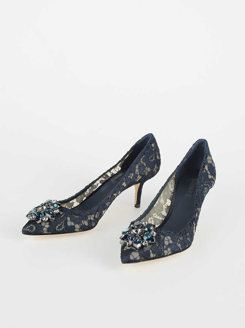 Dolce & Gabbana Laced BELLUCCI Pumps with Jewel Application 6 Cm MIDNIGHT BLUE imagine b-mall.ro