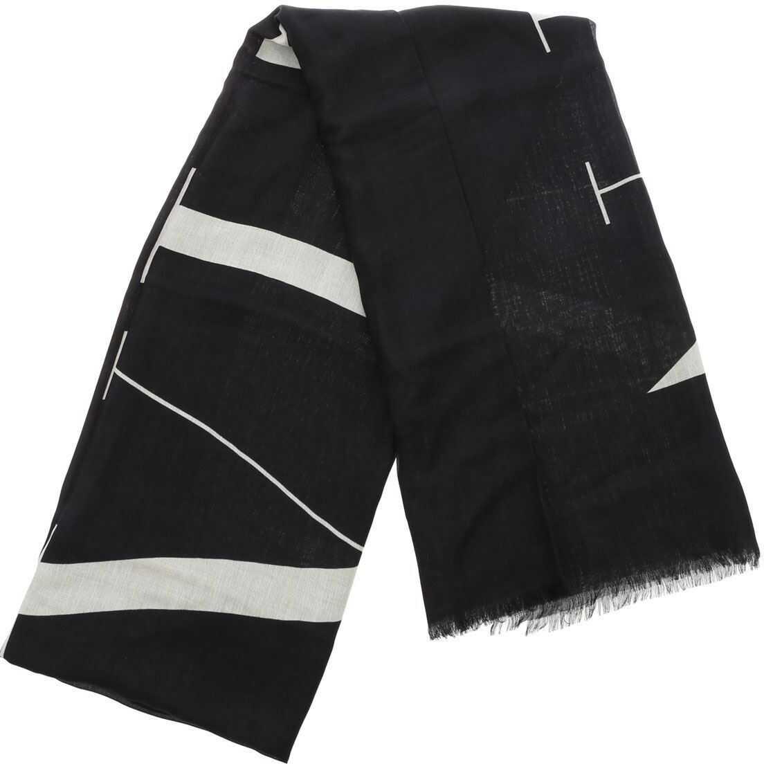 Valentino Garavani Vltn Modal And Cashmere Black Scarf Black