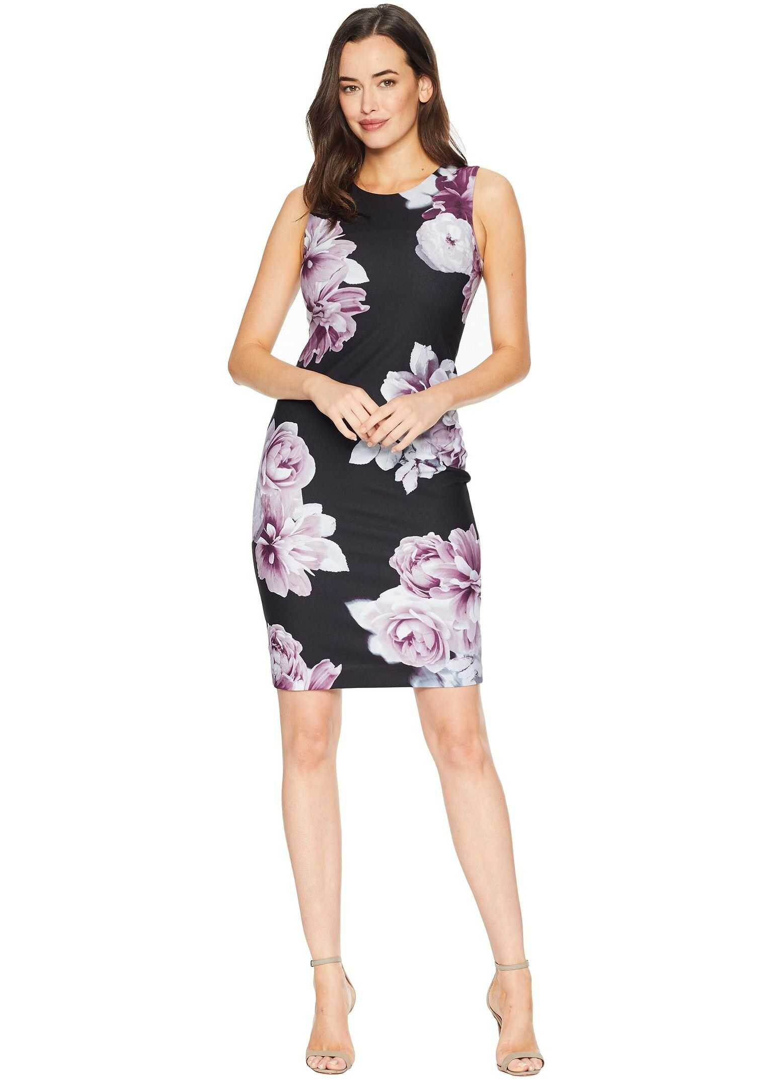 Calvin Klein Printed Crepe Sheath Dress Black Multi