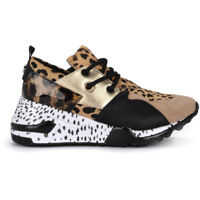Tenisi & Adidasi Steve Madden Cliff Animal Spotted Leather And Cow Hair Sneaker