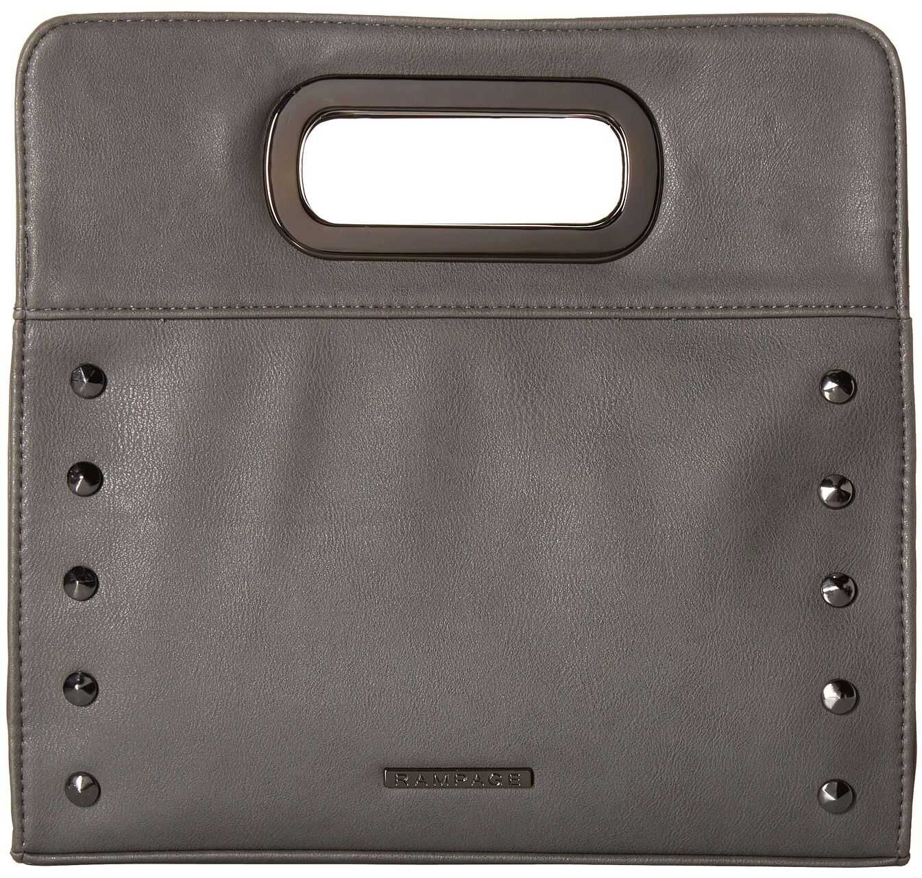Rampage Clutch with Metal Handles and Crossbody Strap Slate