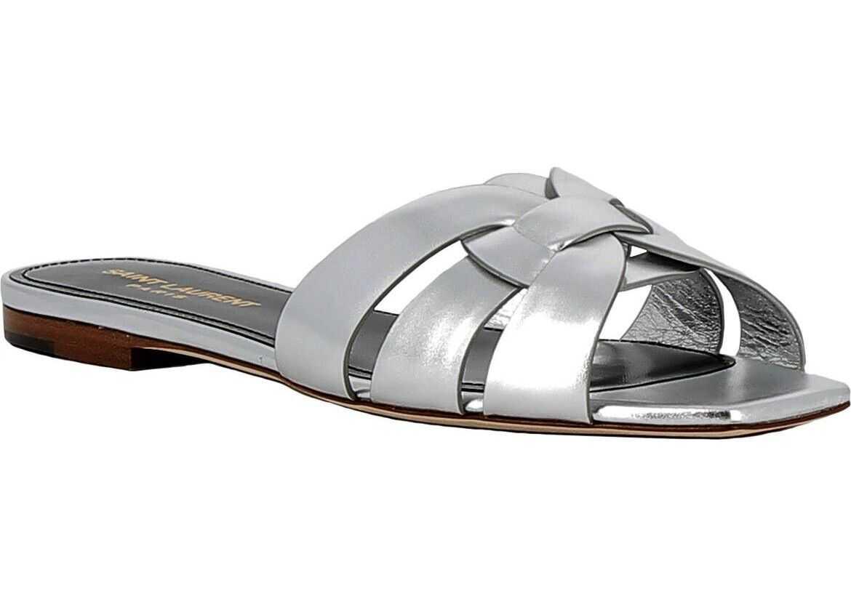 Saint Laurent Leather Sandals SILVER