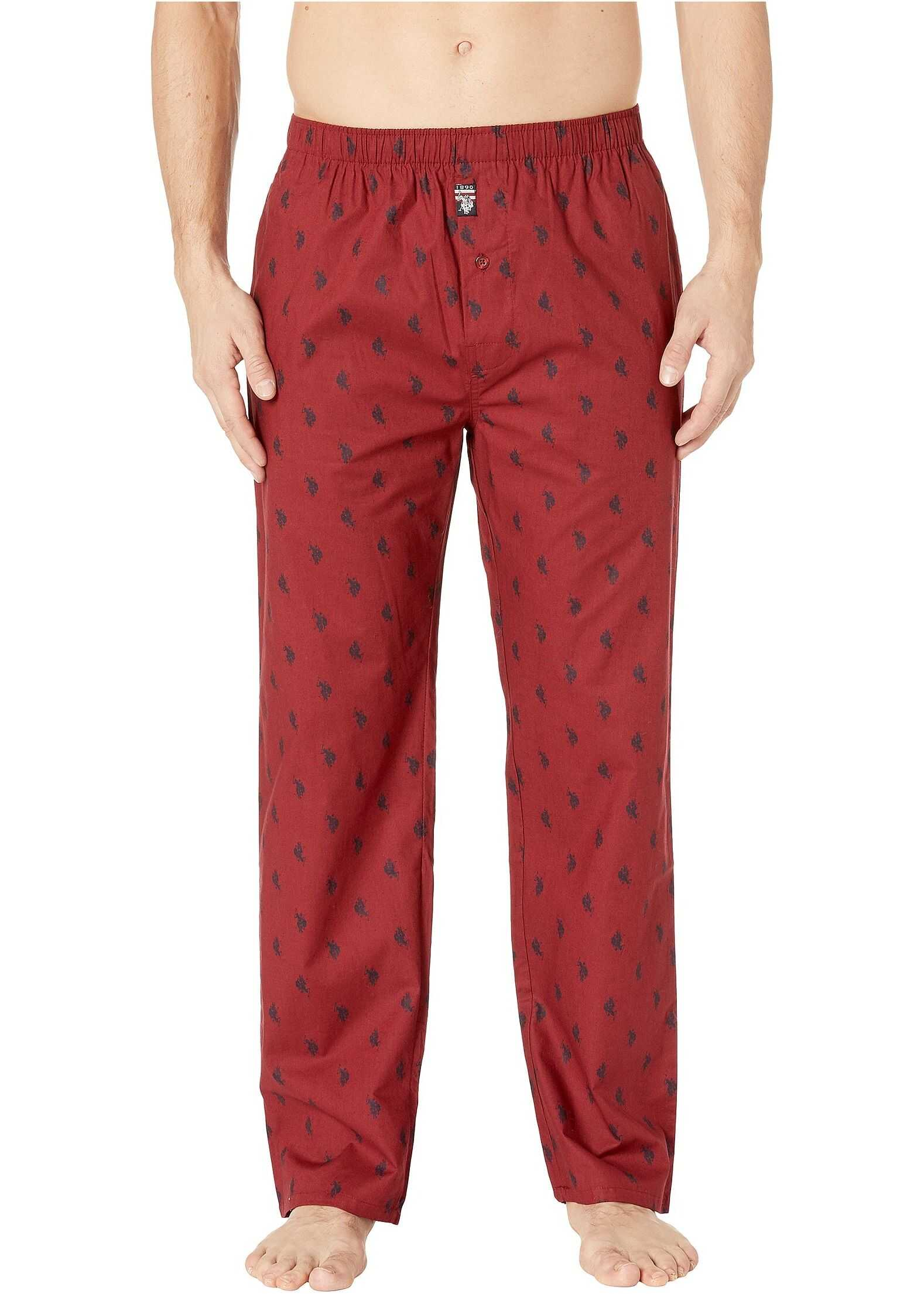 U.S. POLO ASSN. All Over Pony Woven Pants Pomegranite