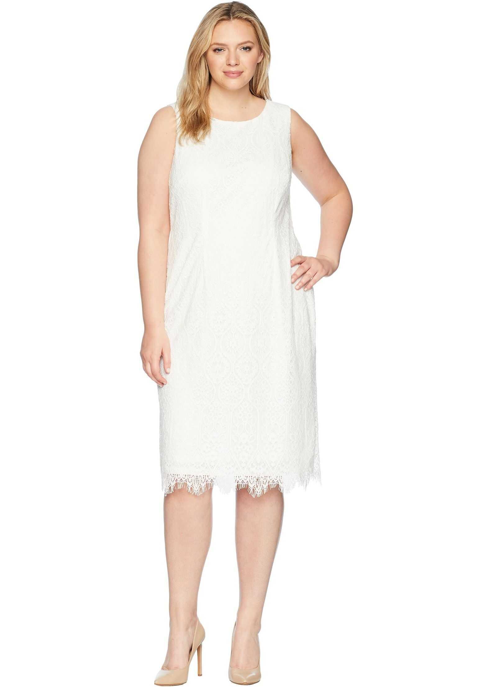 Adrianna Papell Plus Size Scarlett Lace Midi Sheath Ivory