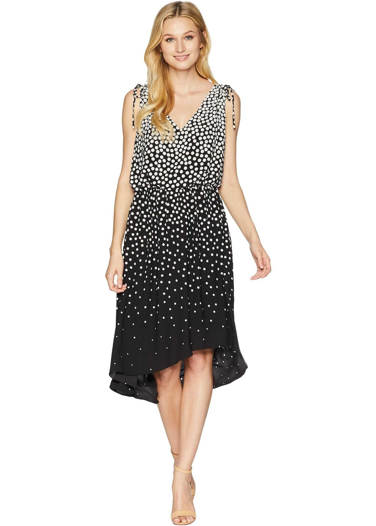 Adrianna Papell Moody Dot High-Low Dress Black/Ecru