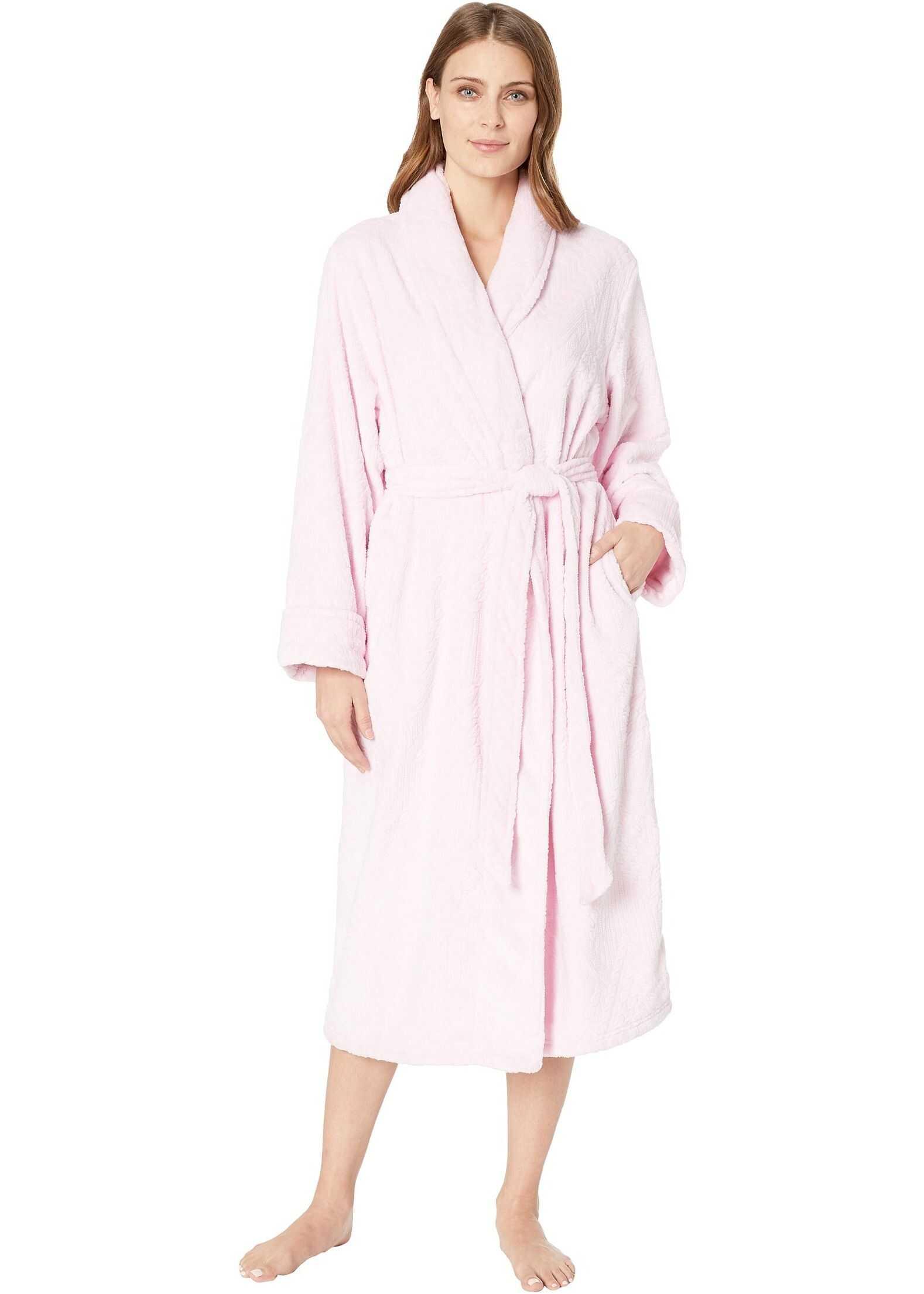 Nautica Long Cable Plush Robe Pink