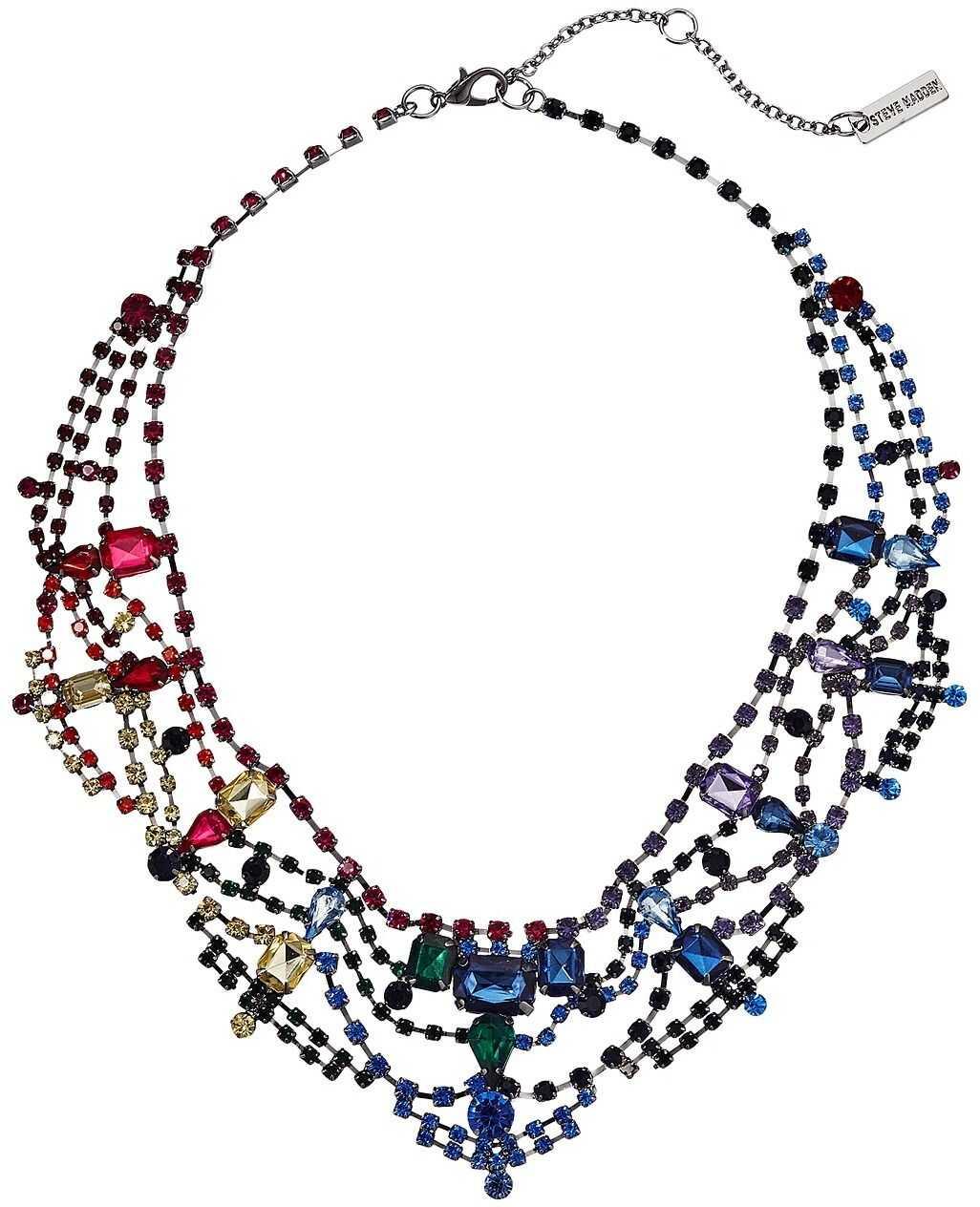 Steve Madden Rainbow Rhinestone Geo Casted Bib Necklace Multi/Gunmetal-Tone