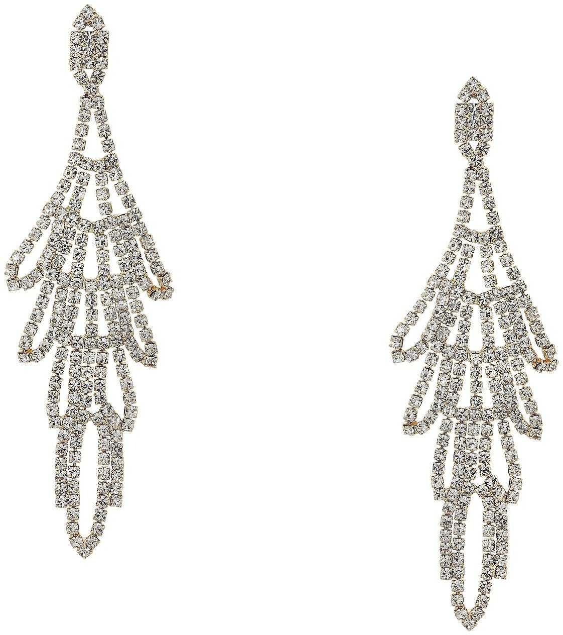 GUESS Rhinestone Chandelier Drop Earrings Crystal Gold