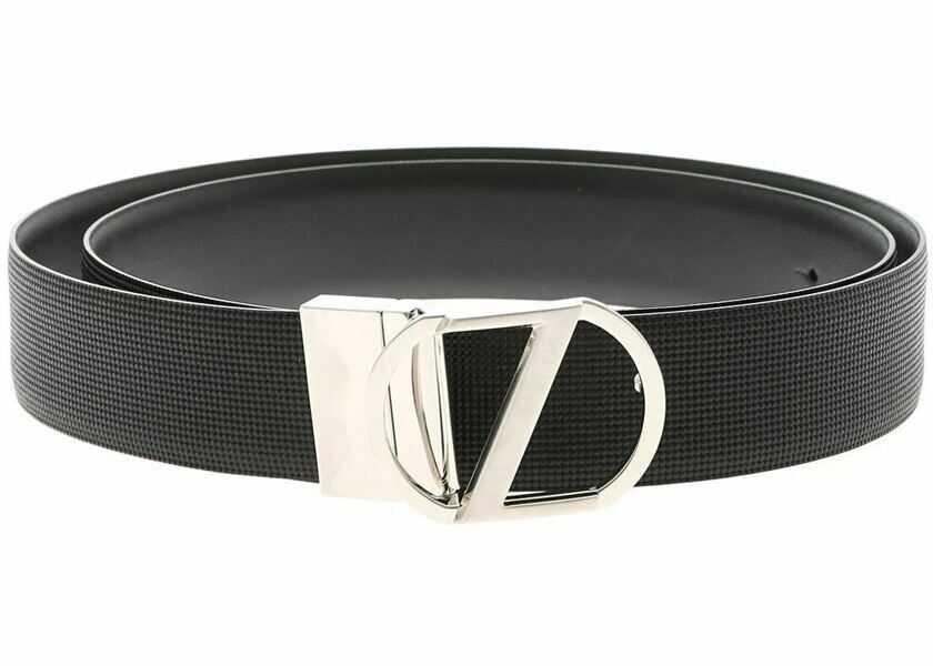 Curele Barbati Z Zegna Reversible Black Belt With Logo