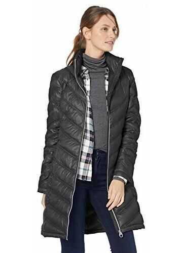 Calvin Klein Women's Chevron-Quilted Packable Down Coat Black