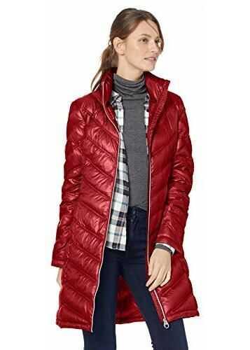 Calvin Klein Women's Chevron-Quilted Packable Down Coat Pearlized Crimson