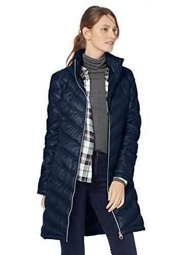 Calvin Klein Women's Chevron-Quilted Packable Down Coat Pearlized Urban Blue