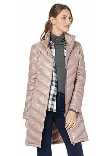Calvin Klein Women's Chevron-Quilted Packable Down Coat Shine Rosewood