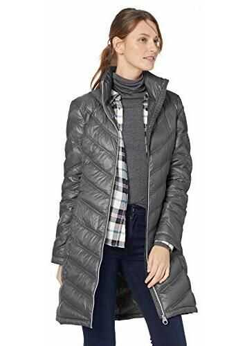 Calvin Klein Women's Chevron-Quilted Packable Down Coat Titanium