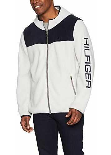 Tommy Hilfiger Men's Hooded Performance Fleece Jacket Navy/Ice