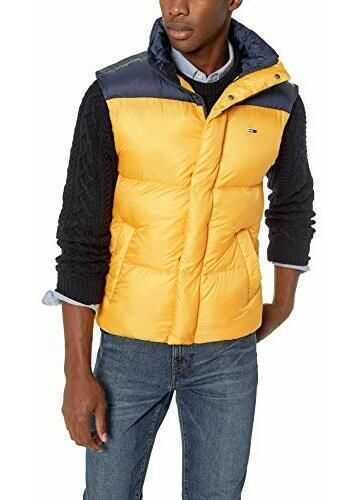 Tommy Hilfiger Men's Vest with Down Fill Classics Collection Spectra Yellow