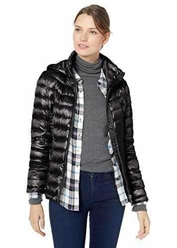 Calvin Klein Women's Short Packable with Tunnel Neck Collar and Hood, Side Cinching Detail, Jet Black