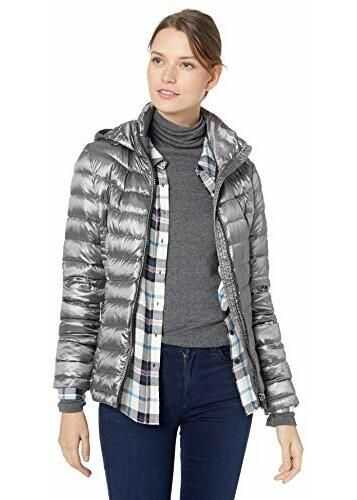 Calvin Klein Women's Short Packable with Tunnel Neck Collar and Hood, Side Cinching Detail, Shine Ash