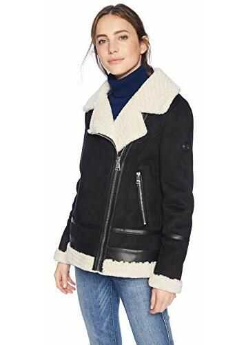 Calvin Klein Women's Moto Style Jacket with Shearling Linging and Pu Trim Detail Black