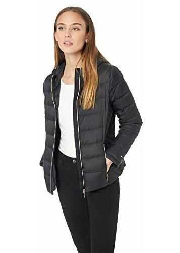 Tommy Hilfiger Women's Short Packable Down Jacket with Hood Black
