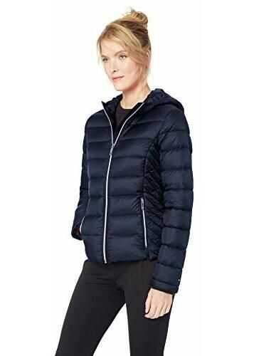 Tommy Hilfiger Women`s Short Packable Down Jacket with Hood, Navy