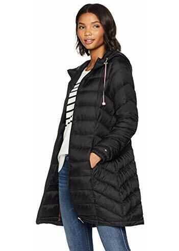 Tommy Hilfiger Women`s Mid Length Packable Down Chevron Quilt Coat Black