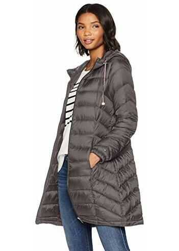 Tommy Hilfiger Women`s Mid Length Packable Down Chevron Quilt Coat Eiffel