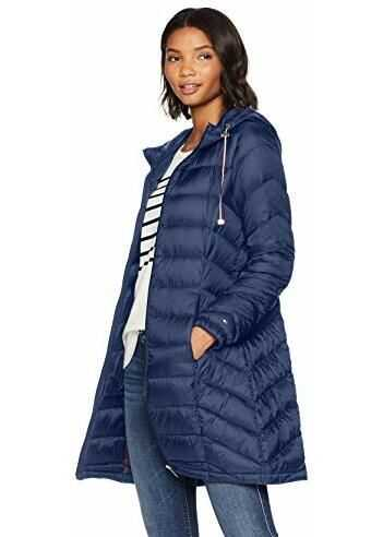 Tommy Hilfiger Women`s Mid Length Packable Down Chevron Quilt Coat Navy