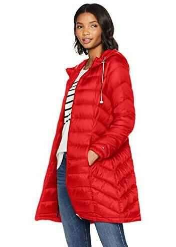 Tommy Hilfiger Women`s Mid Length Packable Down Chevron Quilt Coat Salsa
