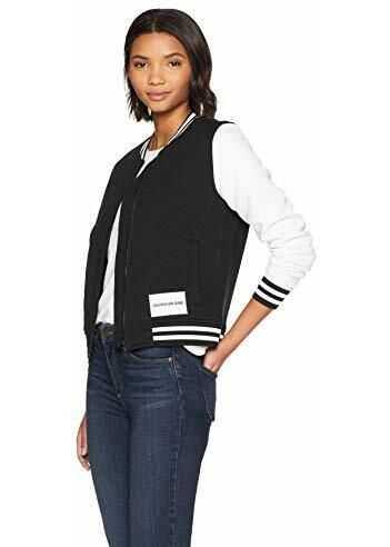 Calvin Klein Women's Bomber Jacket Black Varsity