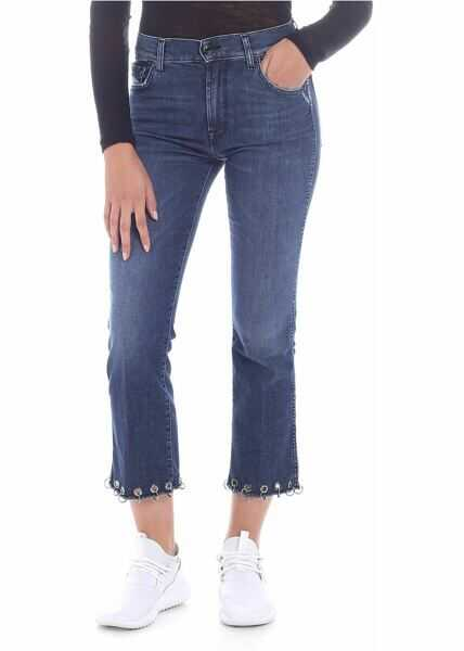 """Blugi Dama 7 For All Mankind """"cropped Boot"""" Blue Jeans*"""