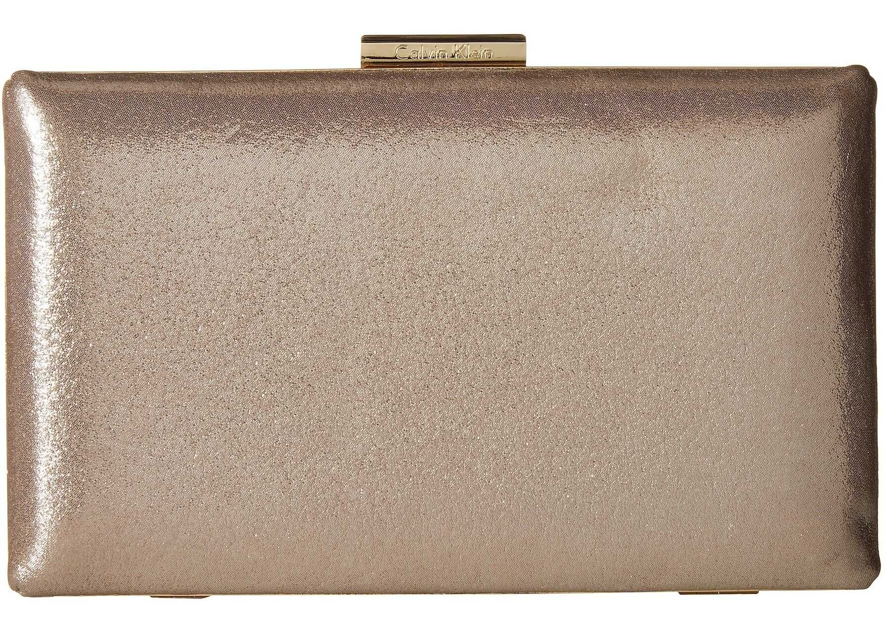 Calvin Klein Dusted Suede Box Clutch Mica (Grey)