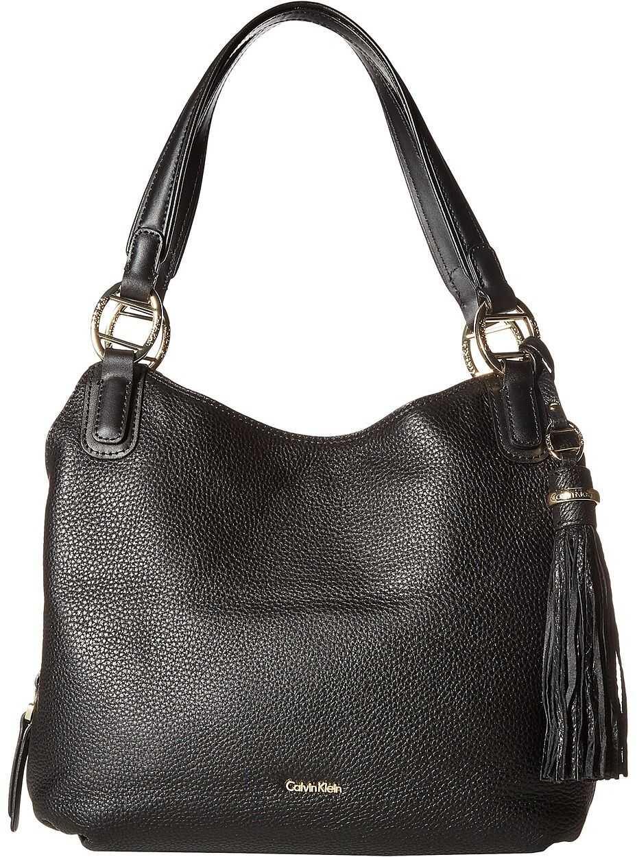 Calvin Klein Holly Pebble Leather Hobo Black/Gold